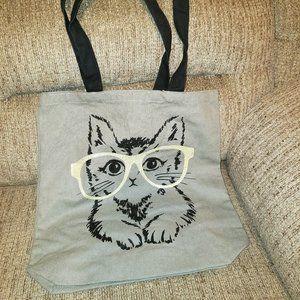 Rare Grey Cat With Big Glasses Tote Bag!